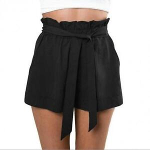Fashion Women Casual Summer Beach Solid Shorts With Belt