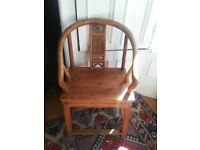 Antique Chinese Horse Shoe Beautifully Carved Chair