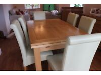 Oak Furniture Land Solid Oak Extender Table & 6 Leather Chairs