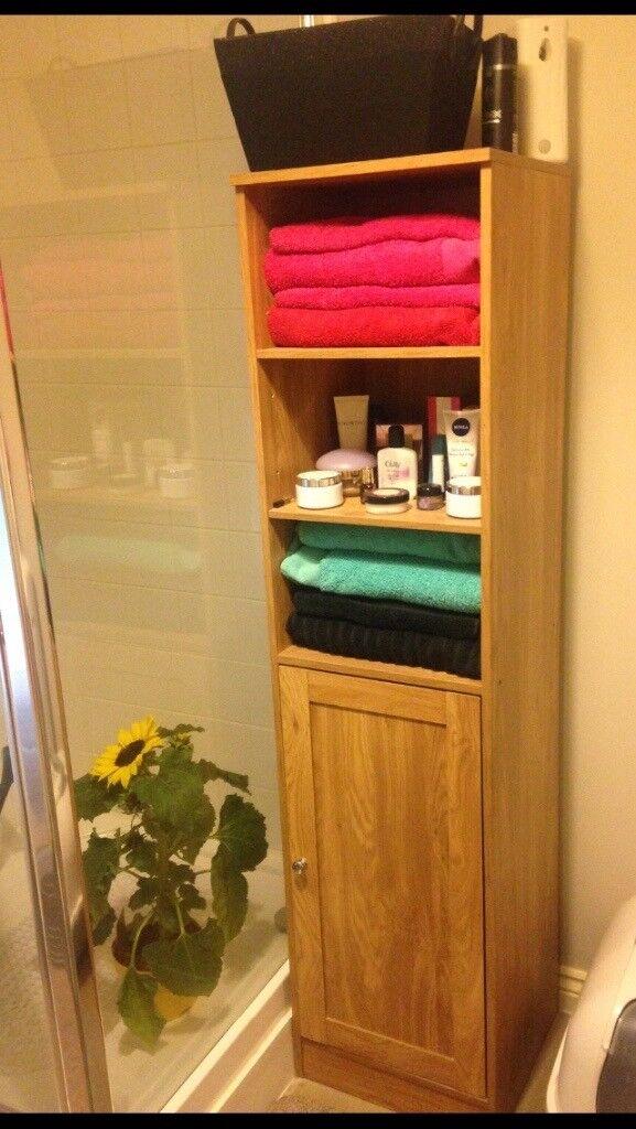 Tall Slimline Light Oak Bathroom Cabinet Unit For Sale In