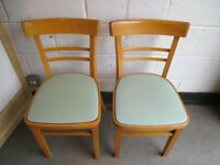 PAIR OF VINTAGE RETRO WOODEN DINING CHAIRS KITCHEN CHAIRS WITH DUCK EGG BLUE VINYL SEATS