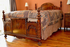 Italian Renaissance 1900's Antique Queen Size 5 Pc. Bedroom Set