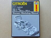 Citroen BX Haynes Workshop Manual ( Petrol : 1360cc 1580cc 1905cc ) Years: 1983-87 (Hardback/Used)