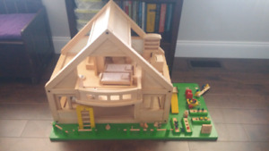 All wood doll house with accessories