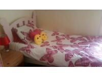 Pink Girls Wood Single Bed Frame in Good Condition