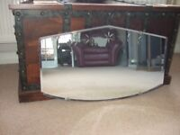 BEAUTIFUL ART DECO MIRROR, ENGRAVED DESIGN AND BEVELLED EDGE TO GLASS