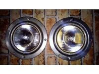 Two vintage sims coach.bus.wagon. head lamps for adaptation wall art,steam punk art