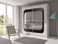 ❤Pick Any Design Or Colour❤ Brand New Berlin Full Mirror 2Door Sliding Wardrobe w/ Shelves, Hanging