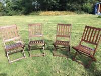 4 x hardwood, folding garden chairs