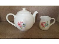 Sainsburys Teapot with Floral Design and Matching Milk/Cream Jug
