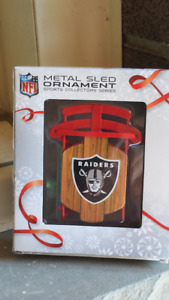 Oakland Raiders Metal Sled NFL Ornament *NEW*