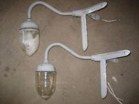 PAIR OF VINTAGE COUGHTRIE (GLASGOW) EXTERNAL SWAN NECK CORNER LIGHTS (can collect EH44 or DG7)