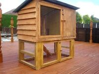 HUTCH 2 TIER, SOLIDLY BUILT WITH REMOVABLE LEGS FOR EASY MOVING WITH A CAR ETC,