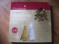 3 FOOT GOLD POP UP HOLOGRAPHIC CHRISTMAS TREE - EASY ASSEMBLY