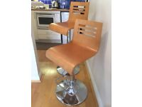 Bar Stools (two) Wood With Chrome Base, Near New