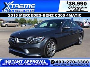 2015 MERCEDES-BENZ C300 $259 BI-WEEKLY APPLY NOW DRIVE NOW