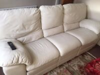Free white, faux leather sofa (with pop out foot rests)