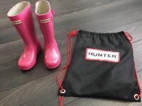 Child's Hunter pink glitter welly boots size 10