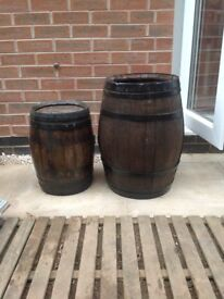 Old French wooden barrels