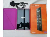 Kindle fire hd 8 with official case box and charger