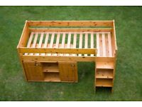 Childs / Childrens Bed - Stompa Mid-Sleeper with Pull-Out Desk, 2 Cupboards and Large Bookshelf