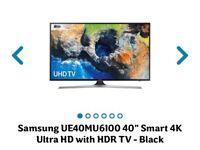 "Samsung UE40MU6100 40"" Smart 4K Ultra HD with HDR TV - Black"