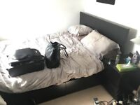 IKEA Malm King Size Bed with Hovag Mattress and two storage boxes. Black-Brown.