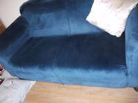 NAVY BLUE VELVET FIXED SEAT SOFA