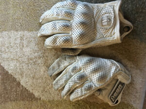 Woman's small white icon motorcycle gloves