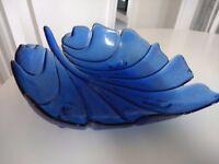 Pretty blue glass fruit bowl