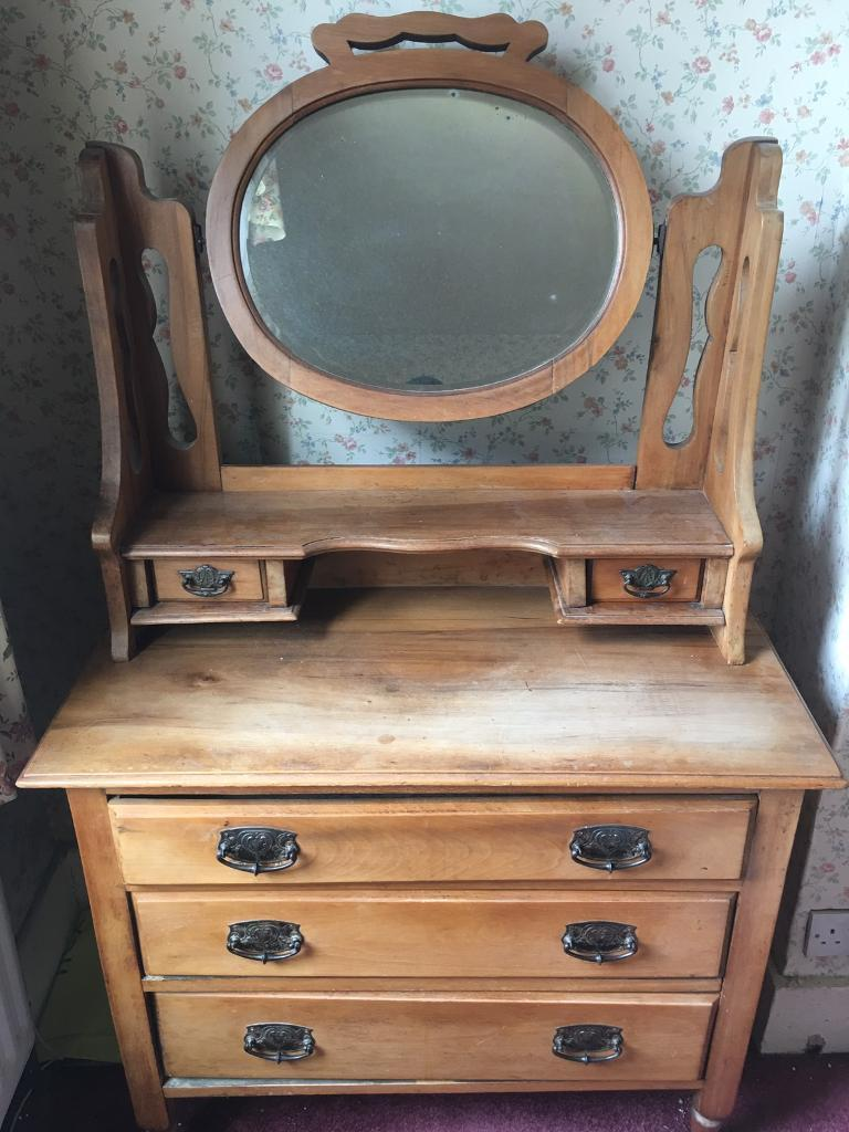 Antique Oak Dressing Table With Chest Of Drawers Mirror In - Antique oak dressing table