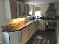 Magnet Gloss Cream and Cafe 19 cabinet Kitchen and Range style 6 burner twin oven and extractor