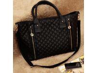 Designer style handbag - black & gold