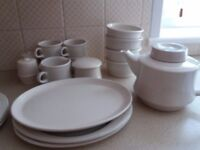 Pottery tea set bowl salt and pepper and serving plates