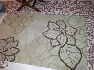 Beige Area Rug with Flowers