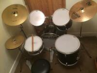 5 piece drum set with cymbals stool and sticks