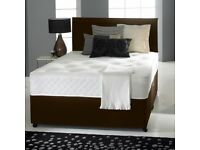"DIVAN BED SET + LUXURY MEMORY FOAM 10"" DUAL MATTRESS + PLAIN HEADBOARD SIZE 3FT 4FT6 5FT KING"