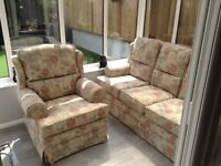 3 Seater Settee and matching armchair in soft floral design in very good condition
