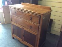 Solid oak vintage cupboard with drawers