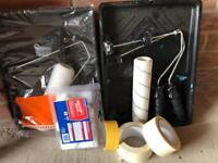 Decoration set, rollers, paint trays, masking tape, frog tape