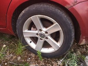 "4 factory 16"" VW Volkswagen rims with like new tires full set"