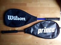 2 squash rackets with covers. Dunlop Biotec X-LITE TI and Wilson Slam