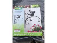 Decorative hanging basket bracket