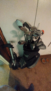 Left-handed Golf Clubs, Bag, Cart, and Accessories