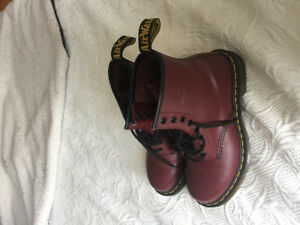 Burgundy wine coloured Doc martens boots. Mint condition