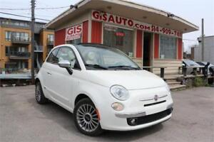 2012 FIAT 500 Lounge Convertible cuir rouge