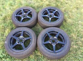 """Set of 4 Black BSA Racing 5 Spoke 15"""" Wheels"""