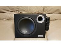 CAR ACTIVE SUBWOOFER IN PHASE 1400 WATT 12 INCH ENCLOSURE WITH INPHASE AMP AND 1.6 POWER CAPACITOR