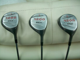 WILSON GEAR EFFECT 1200 SET OF 3 WOODS - DRIVER, 3 WOOD, 5 WOOD