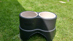 Large dog feeding bowls with stand